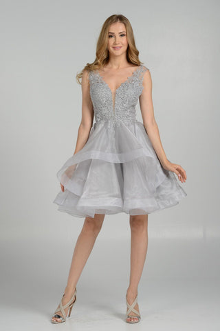 white short formal dress pol#7238
