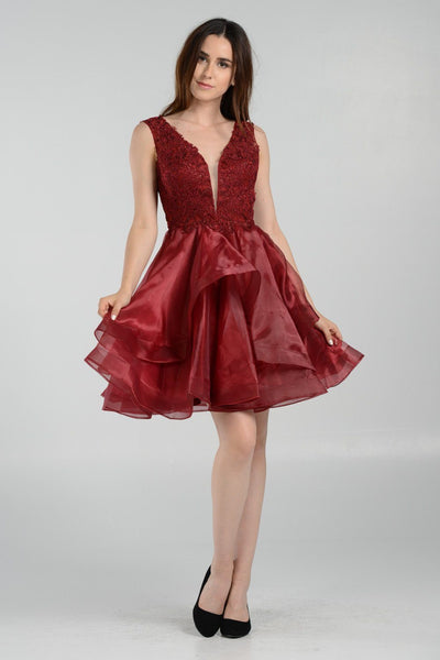 sleeveless celebrity inspired burgundy homecoming dress poly#8178 - Simply Fab Dress