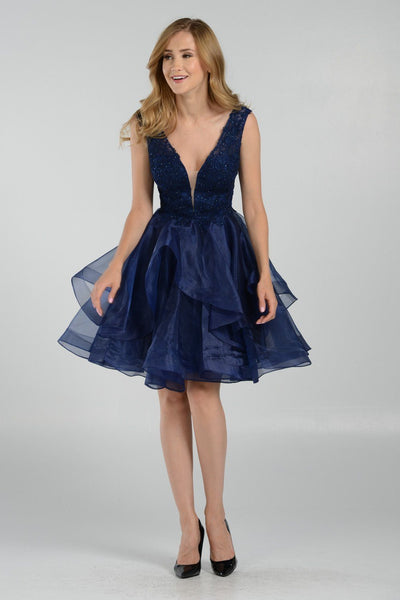 Navy homecoming dress with dramatic organza skirt pol#8178 - Simply Fab Dress