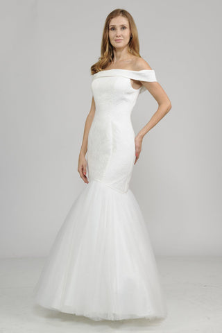 simple tulle wedding dress with deep plunging back pol#7482