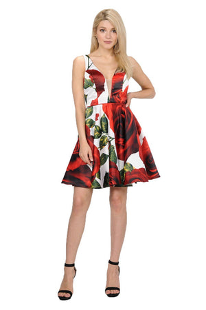 Floral Red Homecoming Dress PO#8287-Simply Fab Dress
