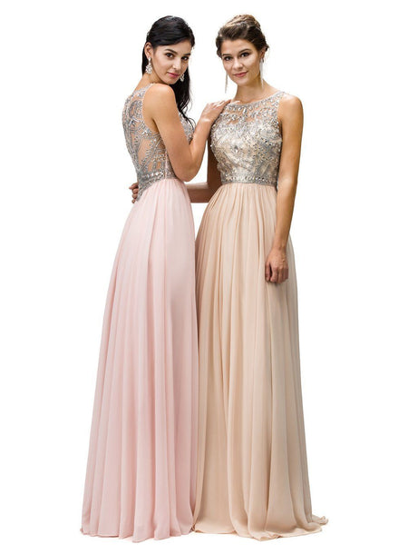 Sparkly illusion Prom Dress with Sheer Back DQ9282-Simply Fab Dress