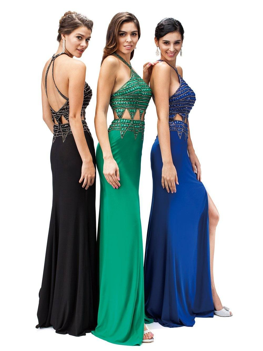 Sexy Halter Prom Dress with Open Back  DQ9338