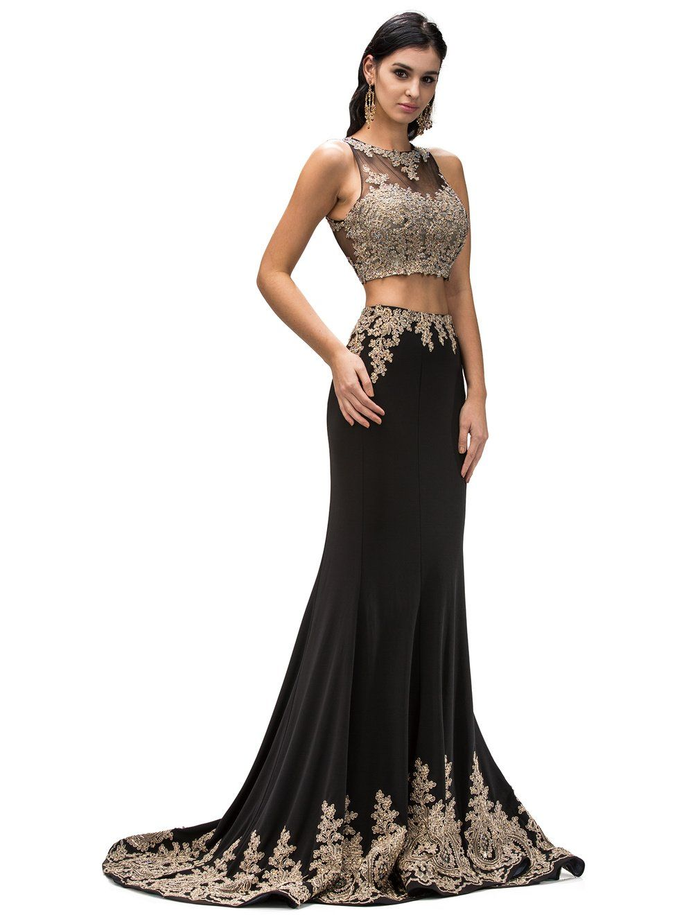 Two-Piece Mermaid Prom Dress with Illusion Gold Lace DQ9391 – Simply ...