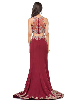 Two-Piece Mermaid Prom Dress with Illusion Gold Lace DQ9391-Simply Fab Dress