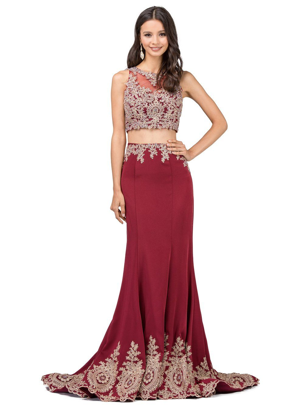 Two Piece Mermaid Prom Dress With Illusion Gold Lace Dq9391 Simply
