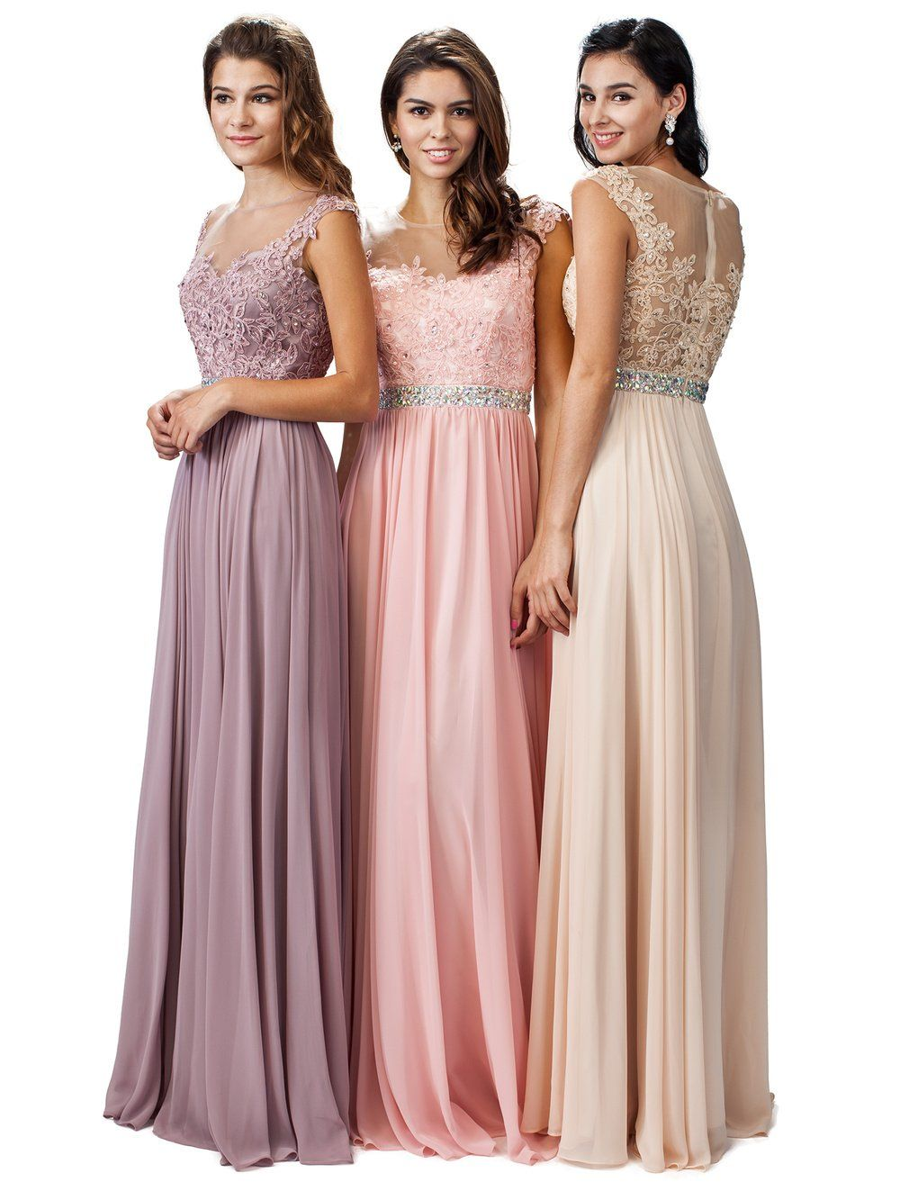 Floor length cheap chiffon bridesmaid dress  DQ 9400 - Simply Fab Dress