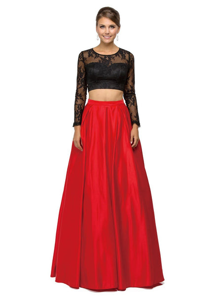 Long sleeve Crop Top prom gown & 2 Piece Dress DQ9445-Simply Fab Dress