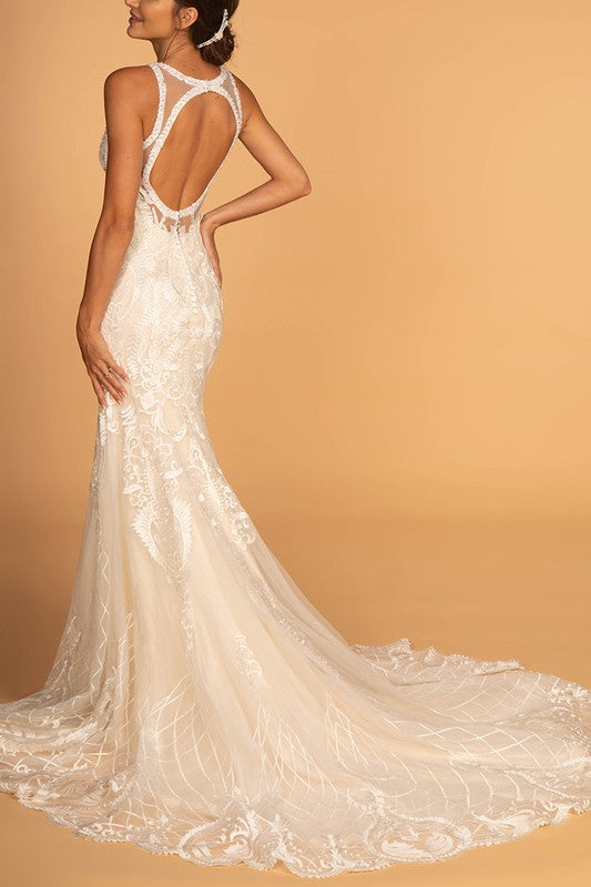 Illusion neckline mermaid ivory dress gl#2598