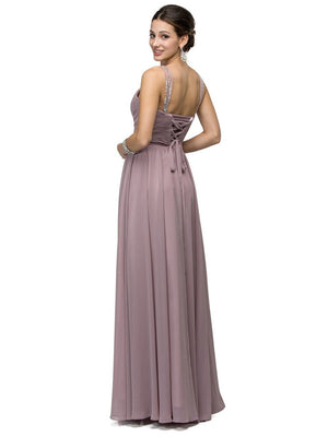 Ruched long Chiffon bridesmaid dress DQ9471-Simply Fab Dress