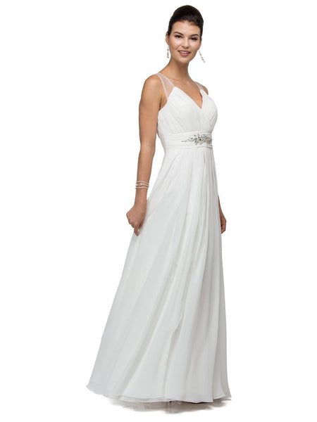 Elegant simple wedding dress for beach wedding Dq9539 - Simply Fab Dress