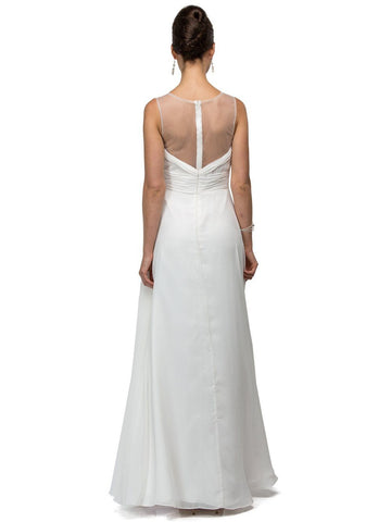 Elegant V-cut Ruched bodice bridesmaid dress DQ9539