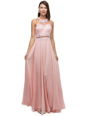 Lace mock Two-Piece cute Prom Dress DQ9548-Simply Fab Dress