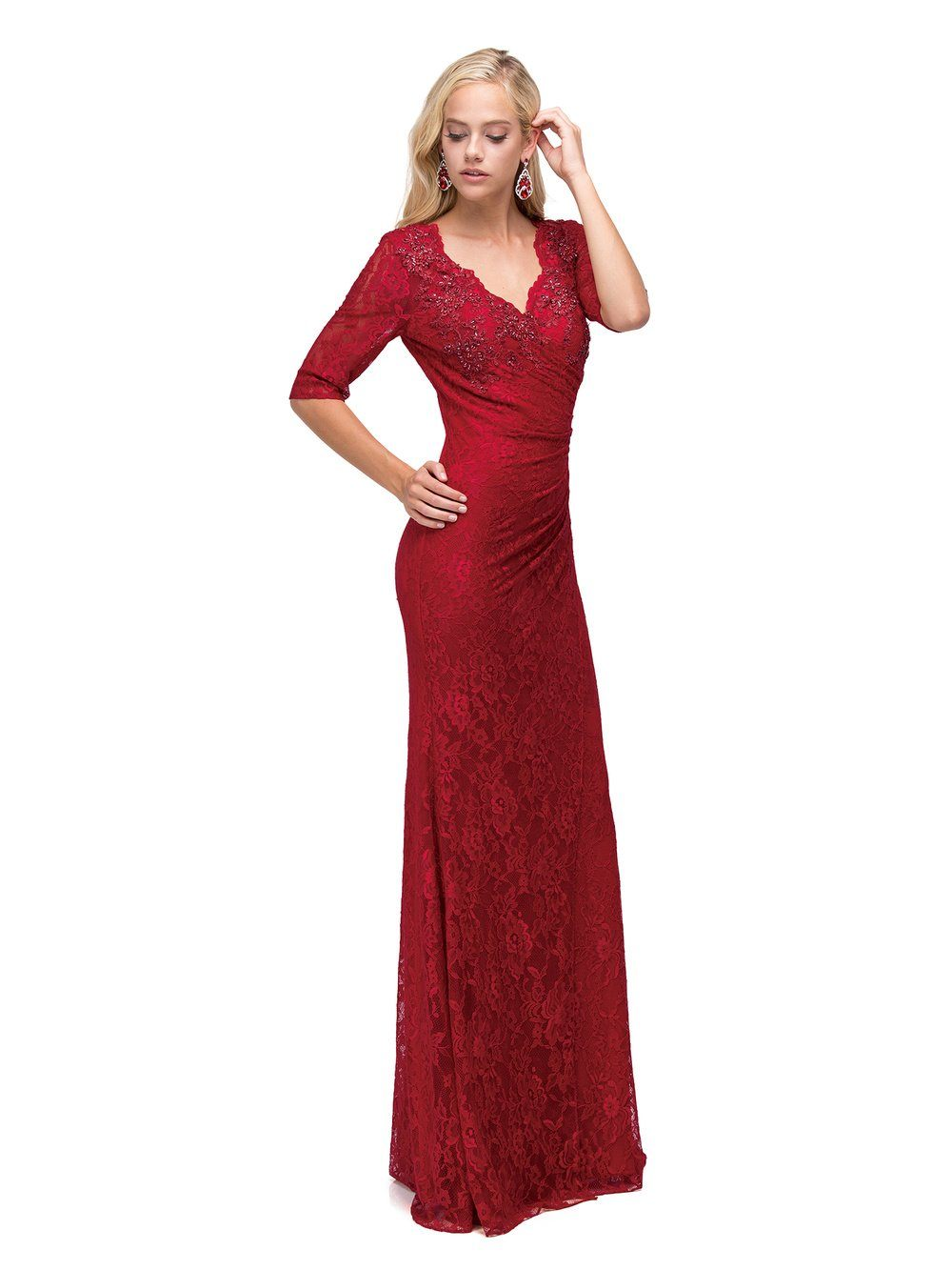 Burgundy Long Sleeve Lace evening gown Dq9586-Simply Fab Dress
