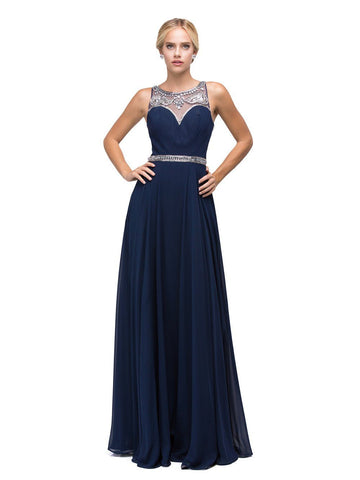 Beaded long chiffon prom dress - DQ9594-Simply Fab Dress