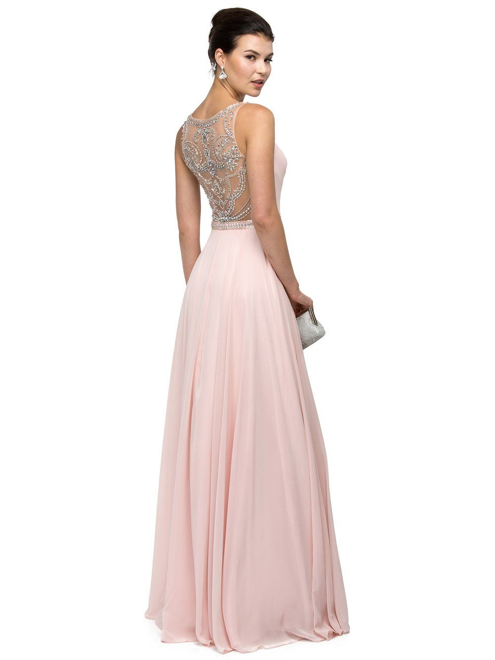Sheer illusion sparkly prom dress DQ9594 - CLOSEOUT – Simply Fab Dress