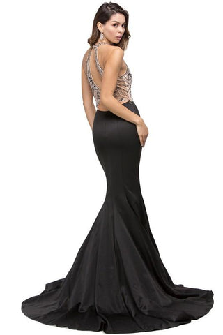 Satin mermaid pageant gown with rhinestone top Dq 9706-Simply Fab Dress