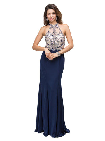 Fitted high neck Prom dress  dq9777
