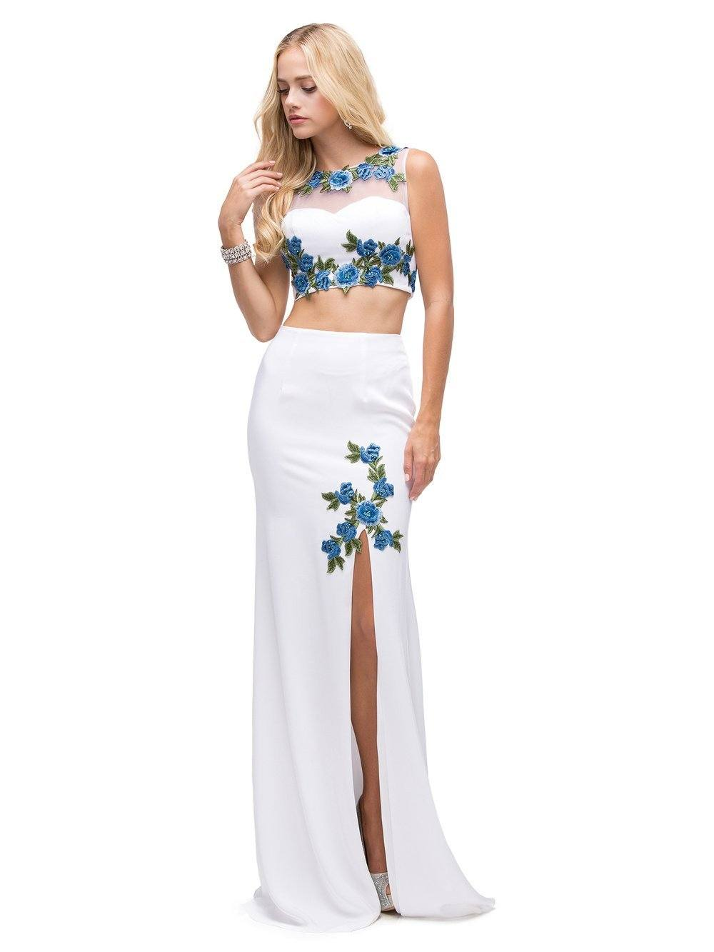 db7a32f80219 Two-Piece floral Prom Dress DQ9820-Dancing queen-Simply Fab Dress ...