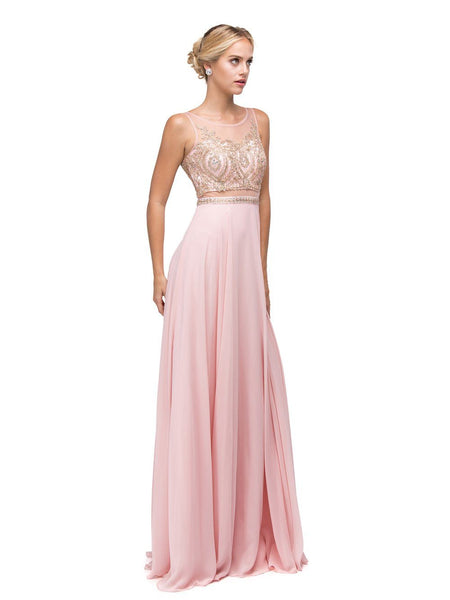 Sheer Illusion long prom Dress dq9856