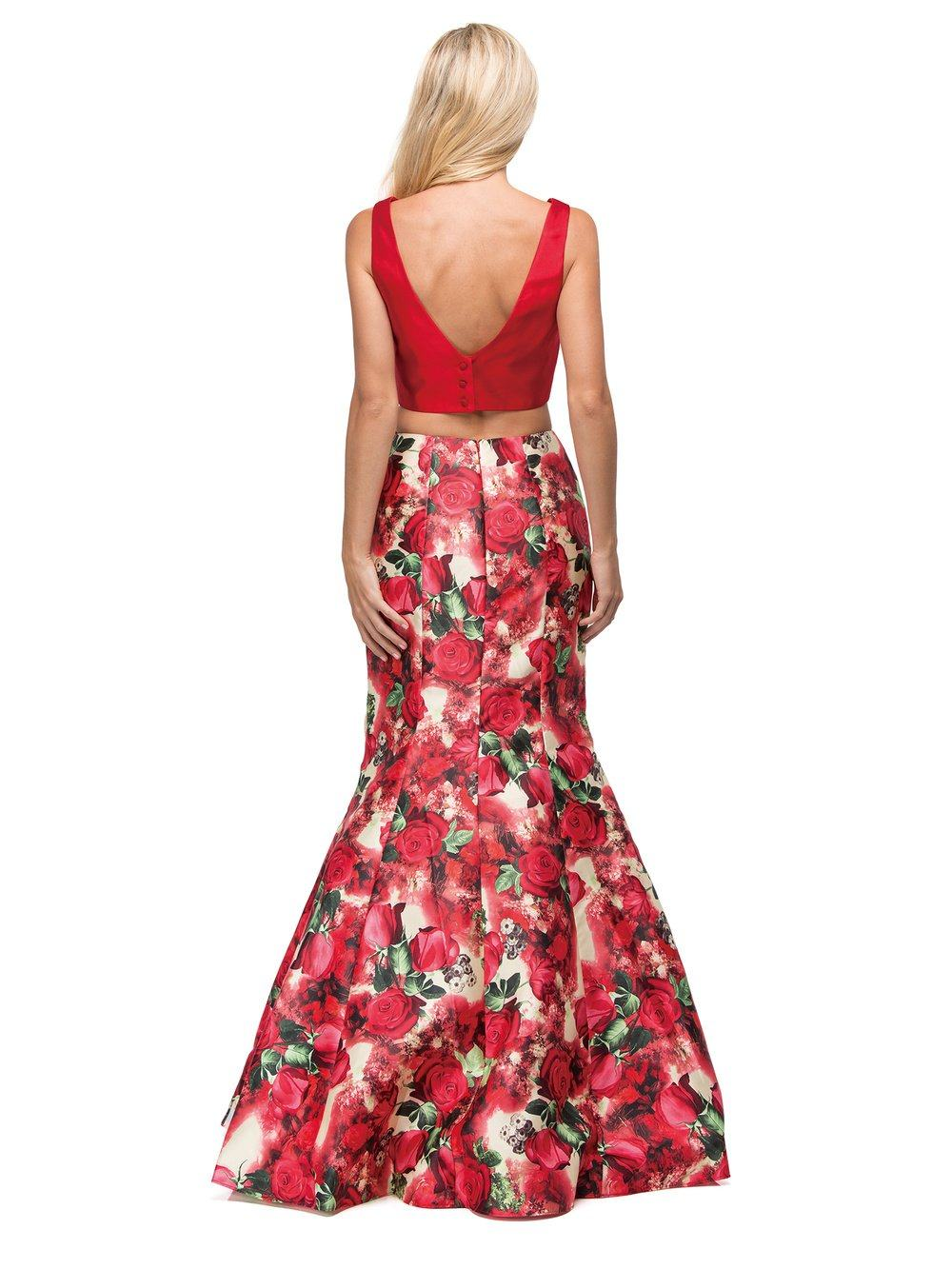 Two Piece Red Floral Mermaid Prom dress dq9900