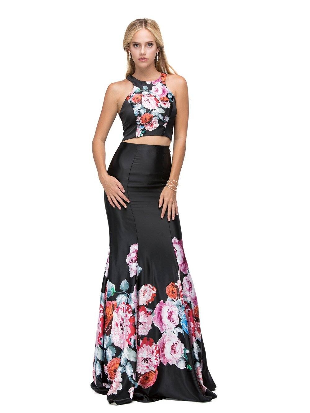 483487d9475 Two-piece Floral Print Prom Dress DQ9904 – Simply Fab Dress