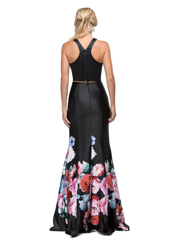 Two-piece Floral Print Prom Dress  DQ9904