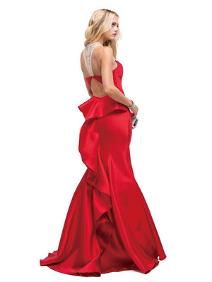 Halter neck mermaid prom dress with ruffles dq9915