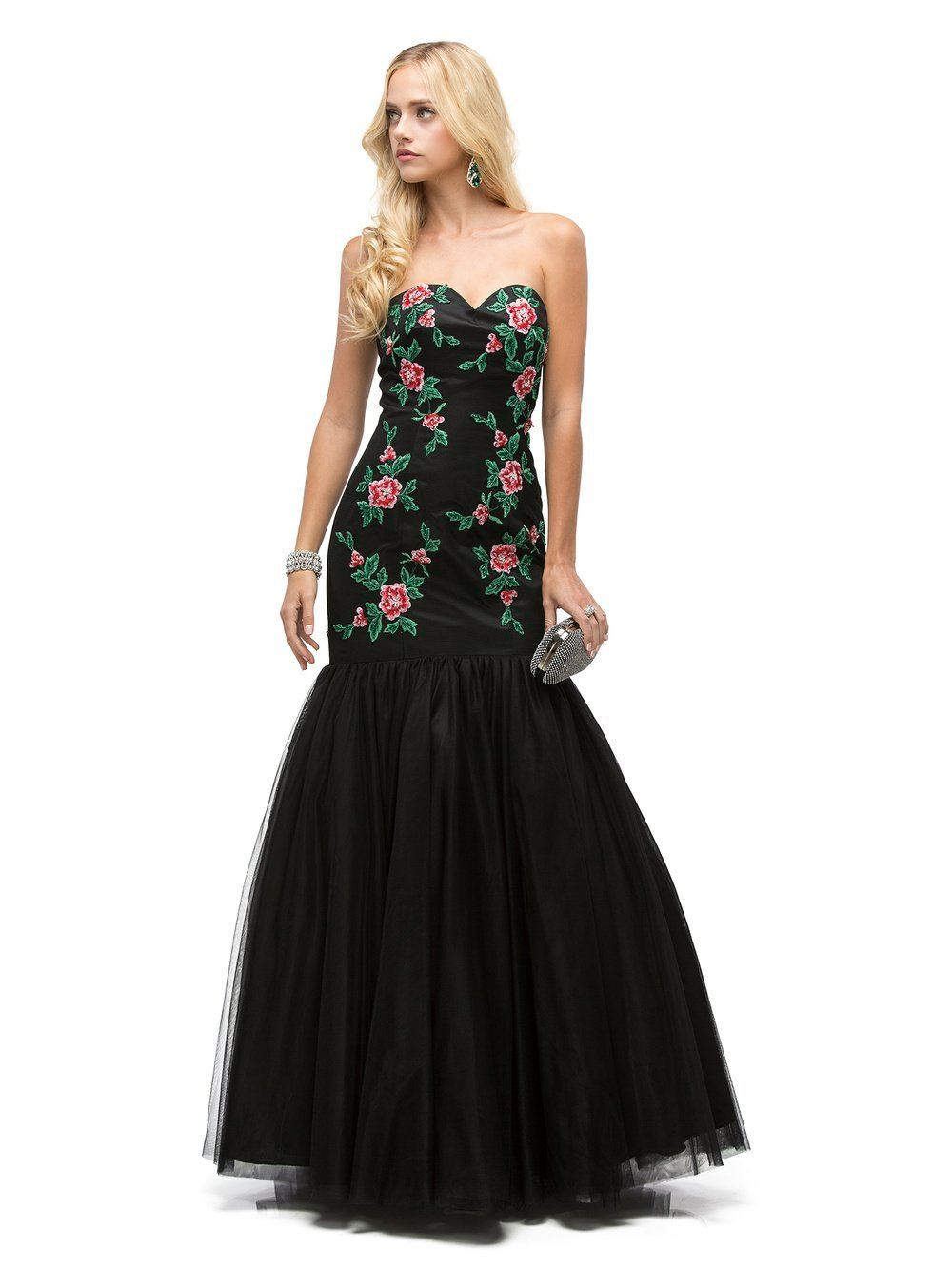 Black Mermaid Prom Dress with Floral Embroidery – Simply Fab Dress
