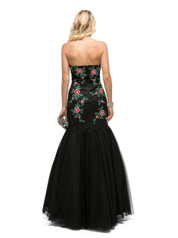 Black Mermaid Prom Dress with Floral Embroidery DQ9935-Simply Fab Dress