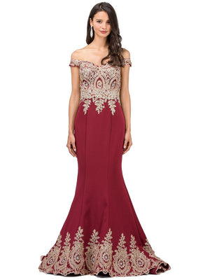 Off the Shoulder Burgundy Prom dress dq9946
