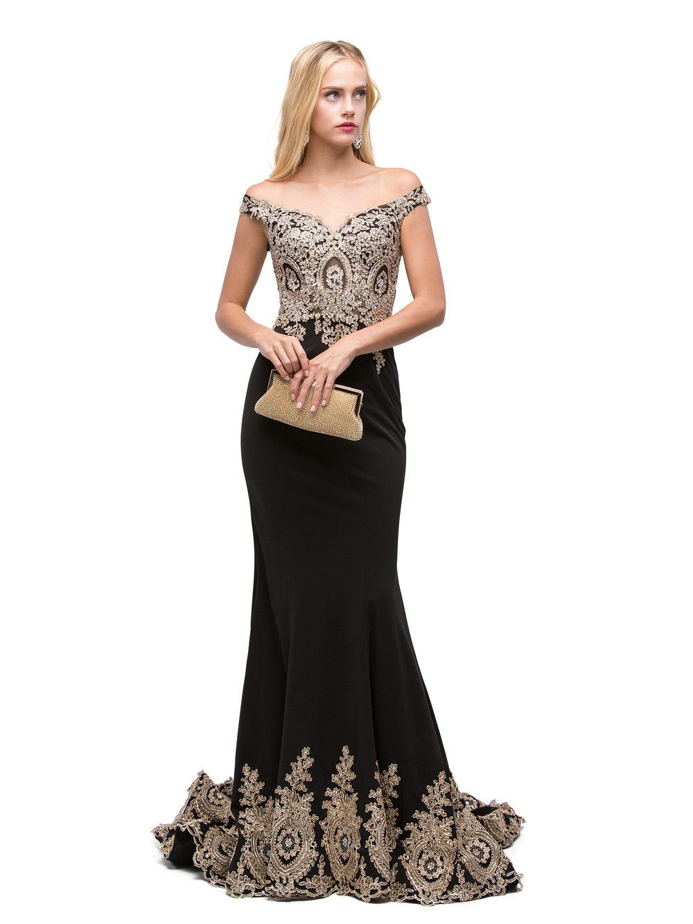 Black off the Shoulder Mermaid Prom dress  dq9946