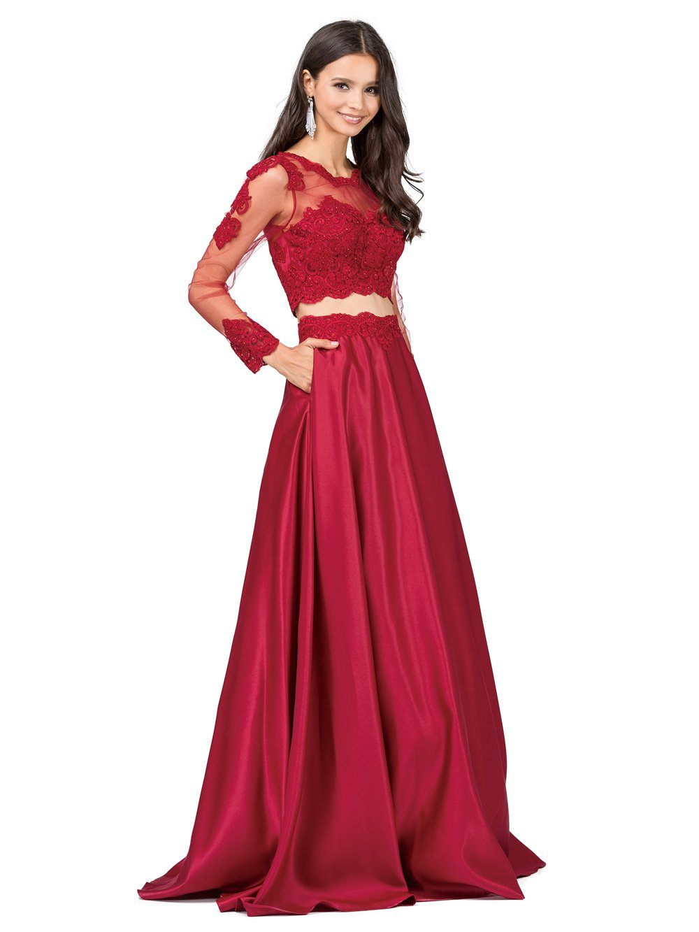 2 piece long sleeve prom dress dq9950 – Simply Fab Dress