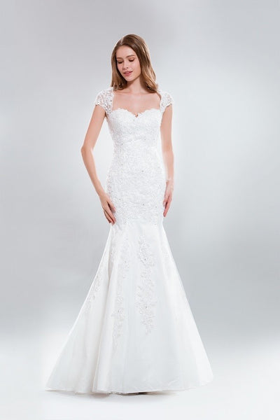 Cap sleeve fit & flare lace wedding dress AB5275 – Simply Fab Dress