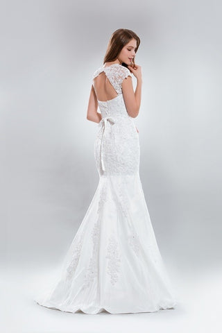 Cap sleeve fit & flare lace wedding dress AB5275 - Simply Fab Dress