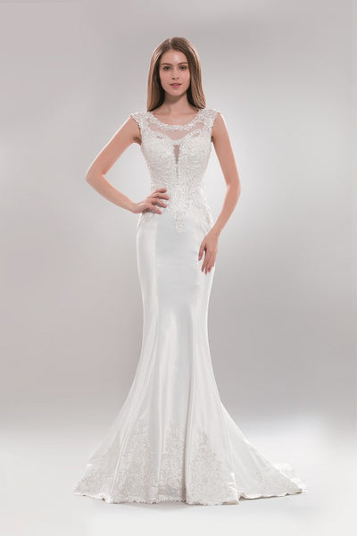 Sheer illusion neckline simple satin mermaid wedding dress #Ab5285 - Simply Fab Dress