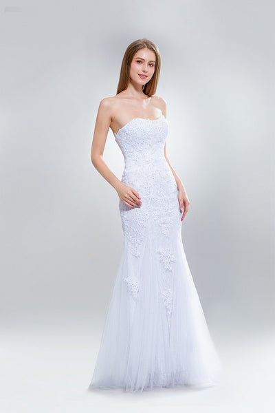 Strapless lace mermaid cheap wedding dress w/corset back Ab7633 - Simply Fab Dress