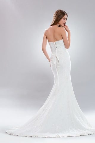 Strapless sweetheart neckline lace cheap wedding dress AB7790 - Simply Fab Dress