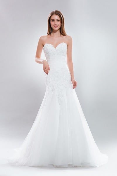 strapless sweetheart neckline cheap mermaid wedding dress AB8835 - Simply Fab Dress