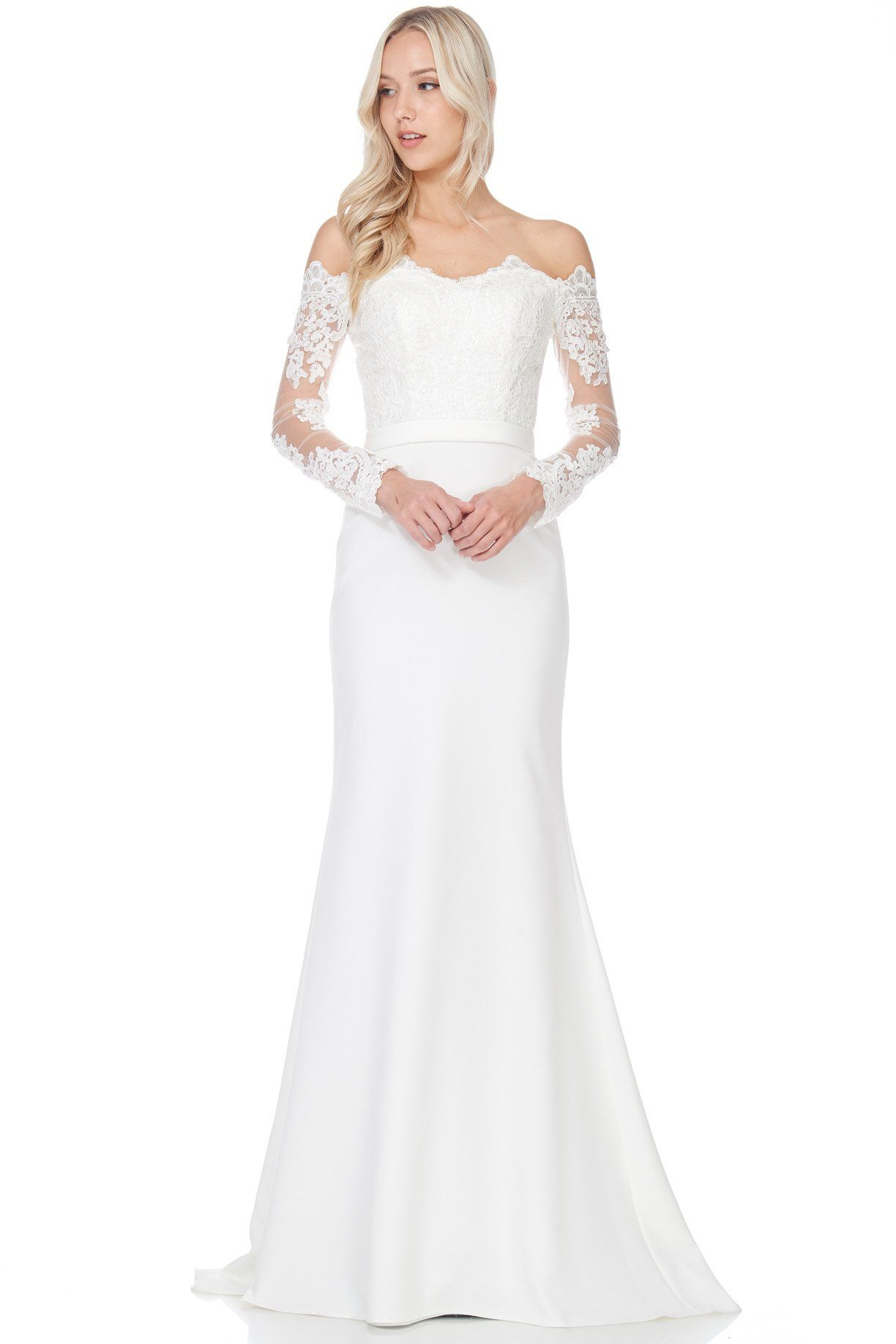 Simple informal casual wedding dresses for summer simply fab dress bc acw1601say i do with this elegant simple long sleeve lace wedding with fitted body a strapless off the shoulder lace bust casual wedding gown for junglespirit Images