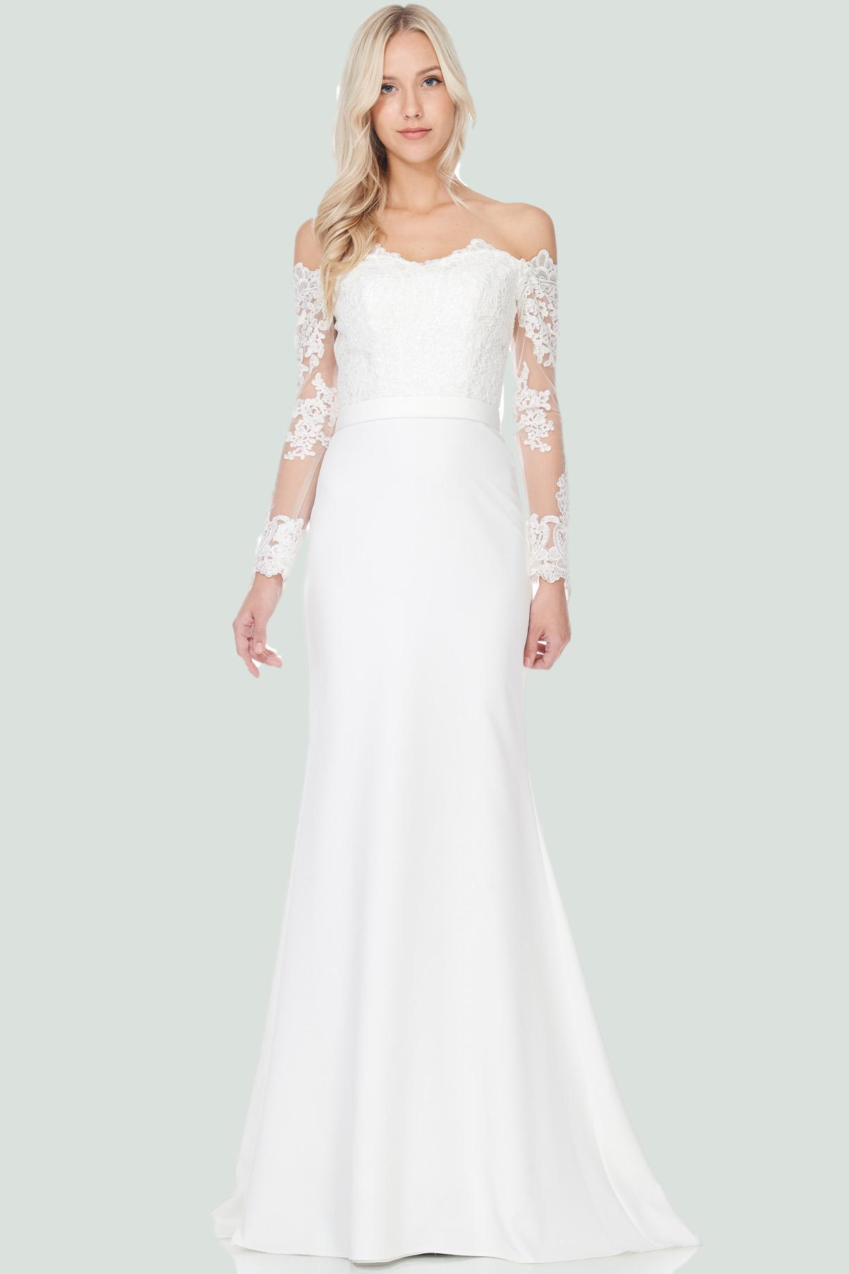 Elegant Simple Long Sleeve Lace Wedding Dress