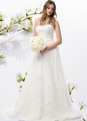 Strapless beaded bodice a-line ball gown wedding dress  BC#ACW2005 - Simply Fab Dress