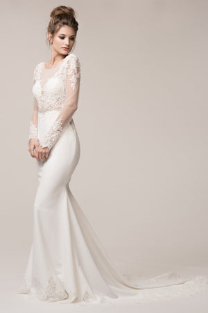 Long sleeve bohemian mermaid wedding dress BC#acw2017 - Simply Fab Dress