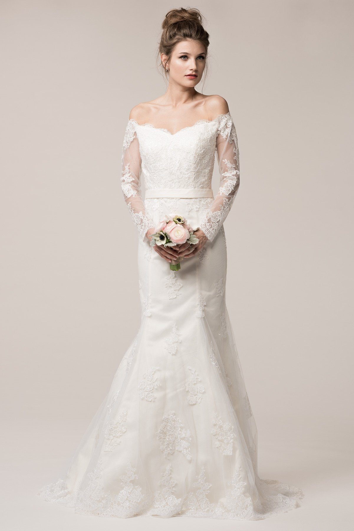 Long sleeve off the shoulder lace mermaid wedding dress BC# ACW2033L