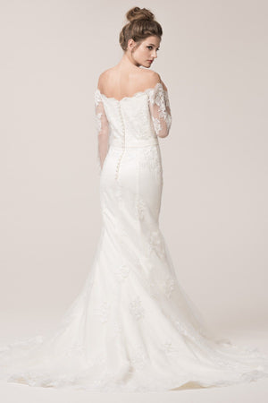 Long sleeve off the shoulder lace mermaid wedding dress BC# ACW2033L - Simply Fab Dress