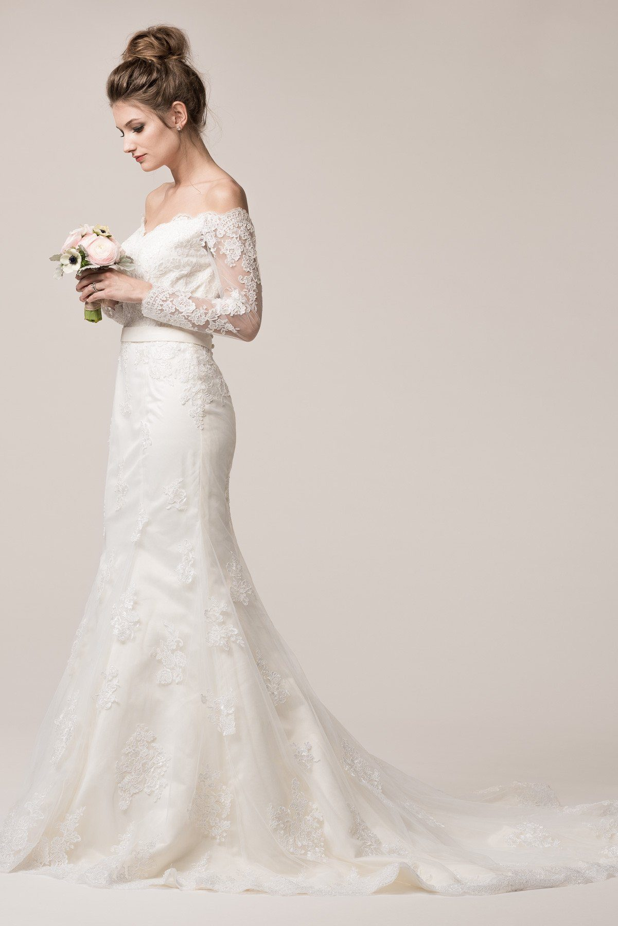 long sleeve off the shoulder lace mermaid wedding dress bc