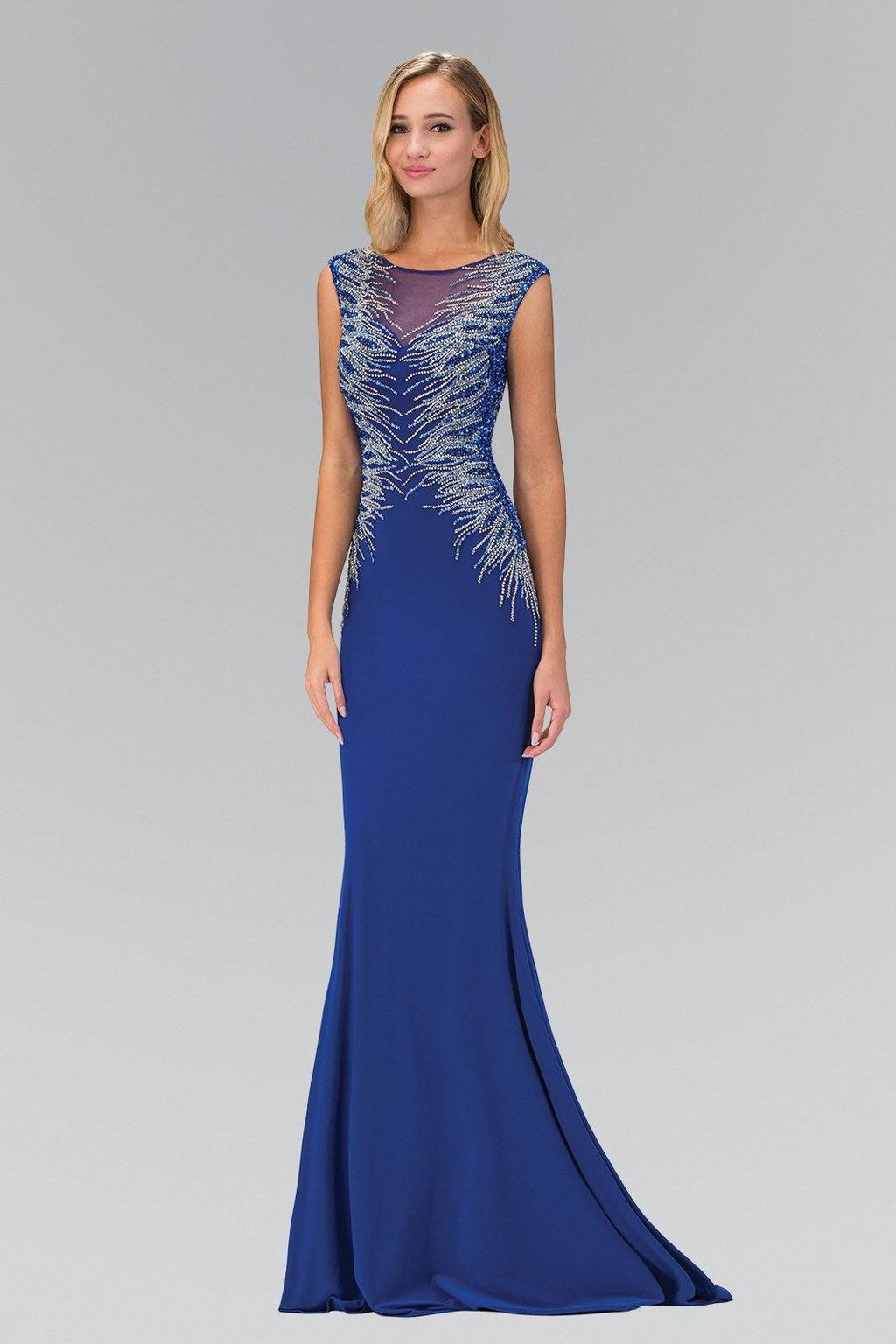 Sparkly long royal blue dress gls 1306-Simply Fab Dress