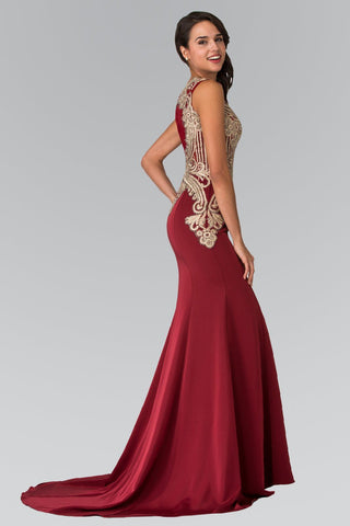 Burgundy Fitted prom dress with slit  GLS 1519B