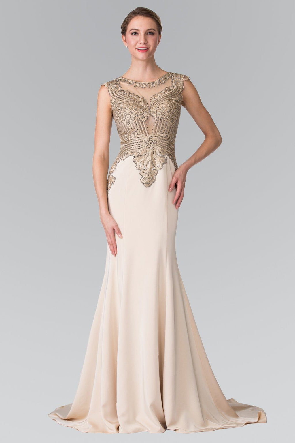 Champagne gold prom dress gls 1461-Simply Fab Dress