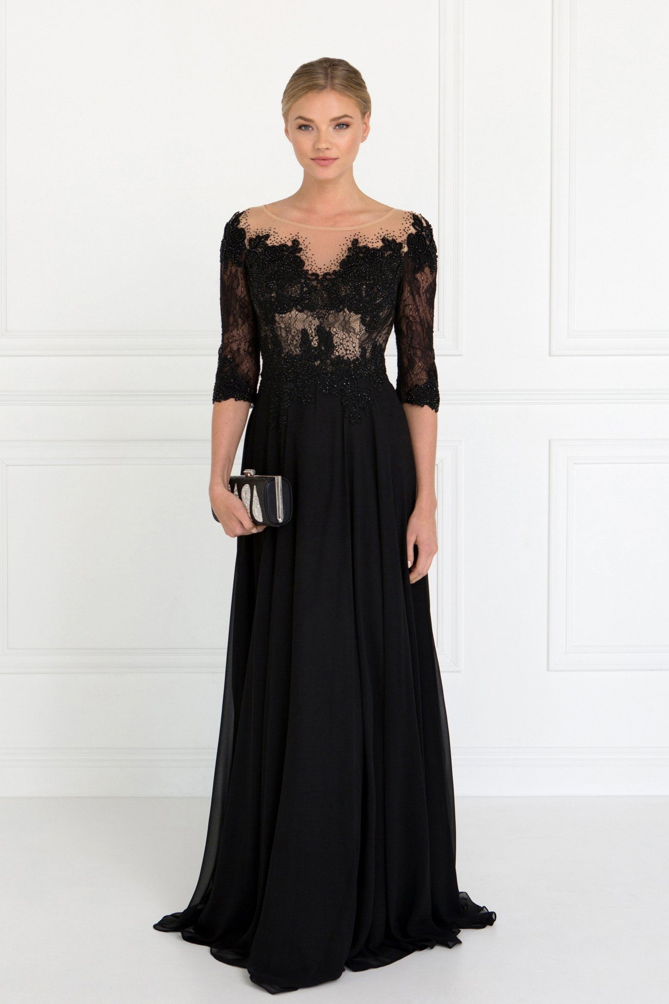 Long sleeve black evening gown gls 1528 – Simply Fab Dress